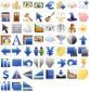 蓝色系列的金融图标工具包png素材下载