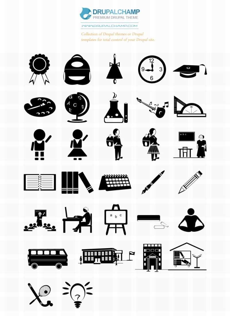 纯黑色的学校图标设计_学校群图标psd素材下载