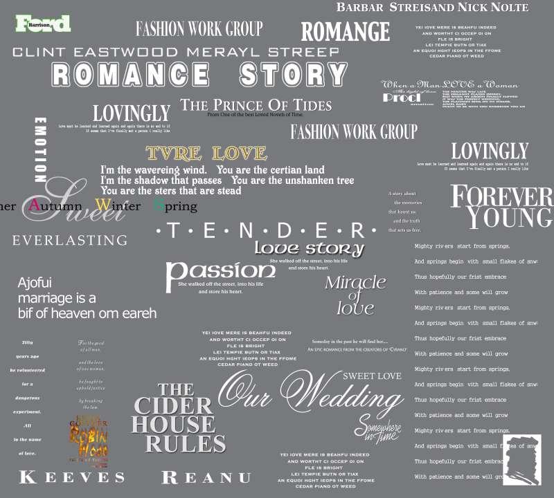 灰底色的英文婚纱转印字体设计PSD素材下载