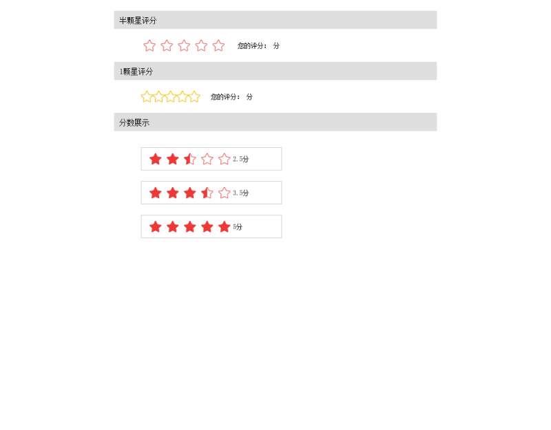 jquery星级评分一颗星半颗心星级评分代码