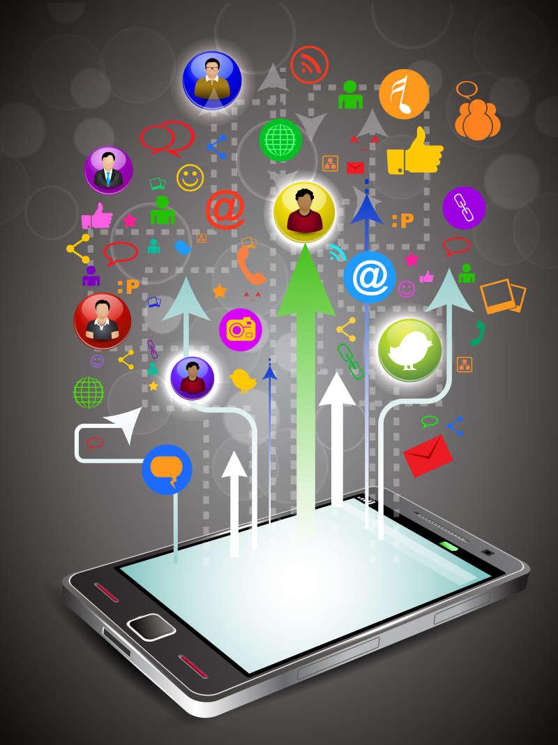 虚拟的手机传播信息ui设计素材