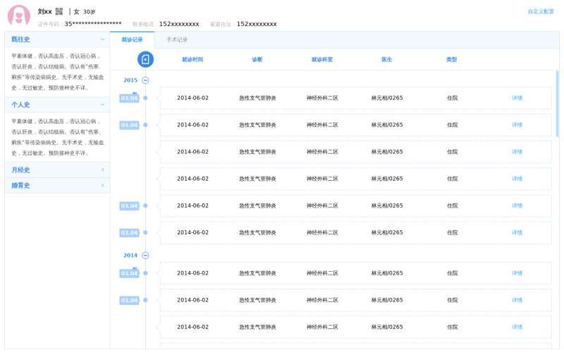 医院患者就诊记录管理OA页面模板