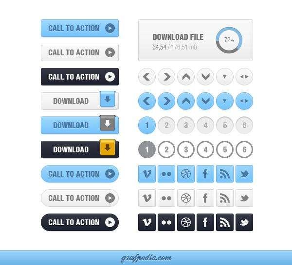 各种网页常用清新的界面元素按钮素材和下载按钮psd素材下载