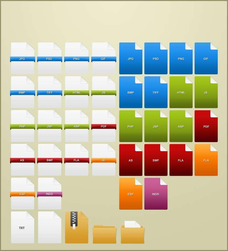 各种简单带折页的文件格式图标素材和软件格式图标素材psd下载