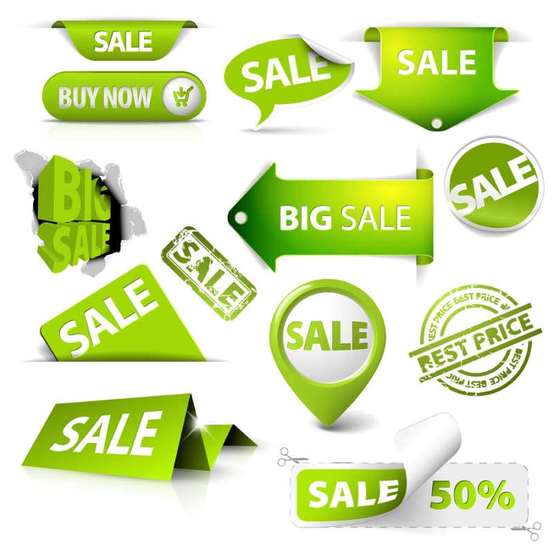淘宝店铺常用的红色促销标签图标素材和折扣标签图标素材psd下载