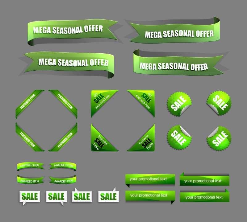 绿色质感色带素材_淘宝店铺折扣标签图标素材psd下载