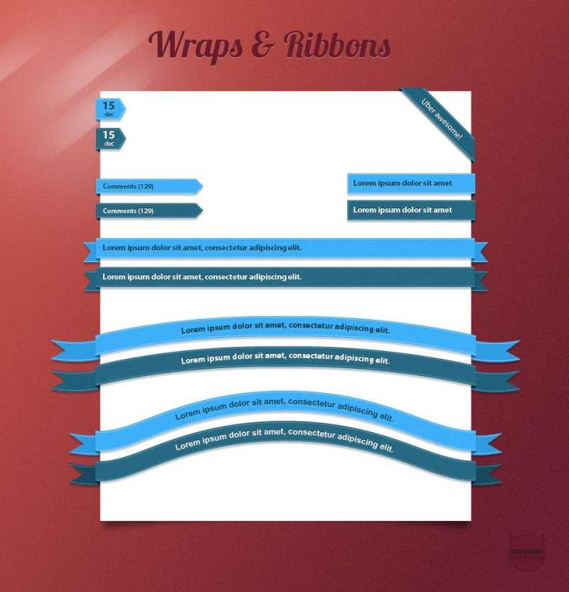 各种蓝色的页面包边色带素材和页面包角色带素材psd下载