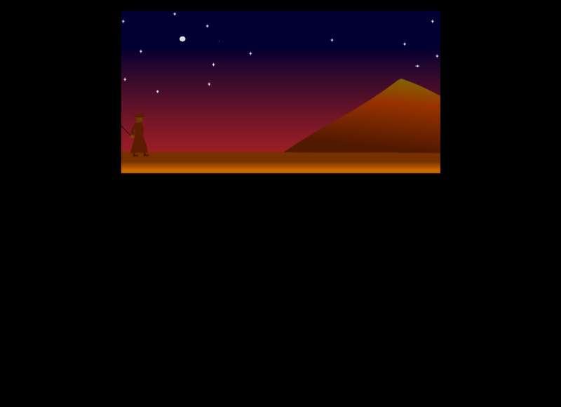 夜晚星空下行走的骆驼flash动画特效