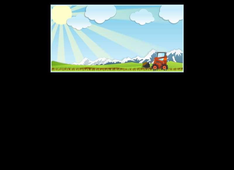 草坪上行驶的挖掘机flash动画素材