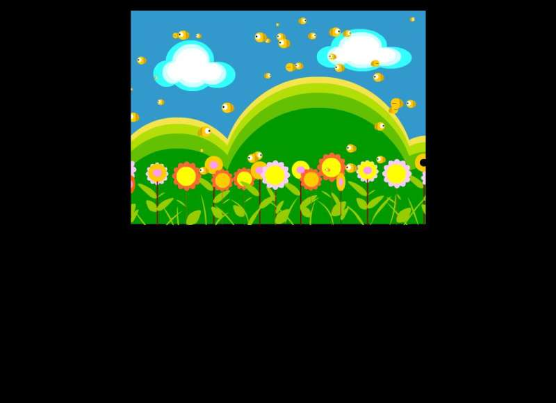 卡通花丛间飞舞的小蜜蜂flash动画素材