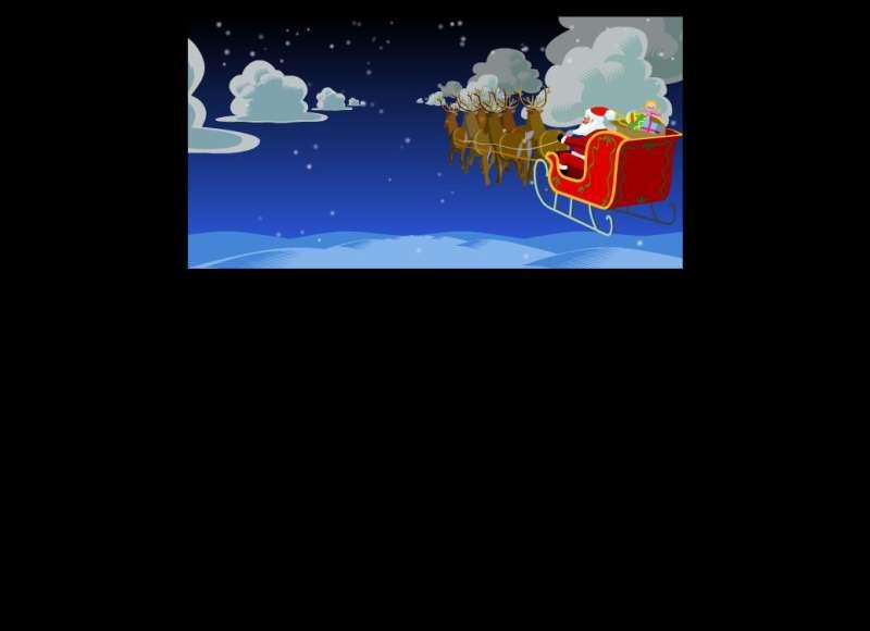 空中行走的圣诞老人拉雪橇flash素材