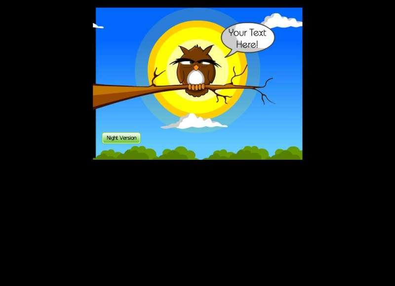 卡通白天夜里猫头鹰flash动画场景素材