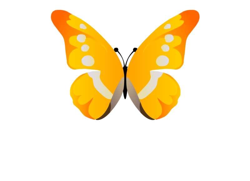 金黄色挥着翅膀的蝴蝶flash动画素材