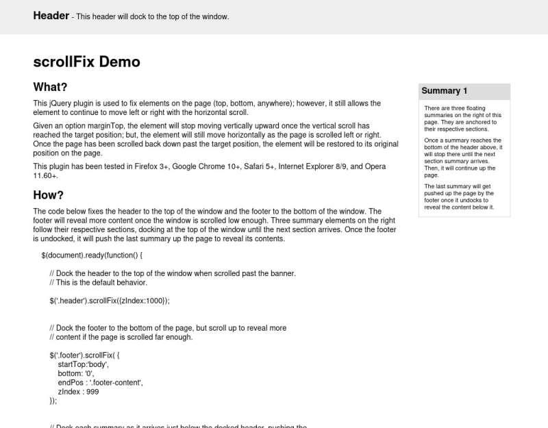 jquery网页滚动顶部固定层插件
