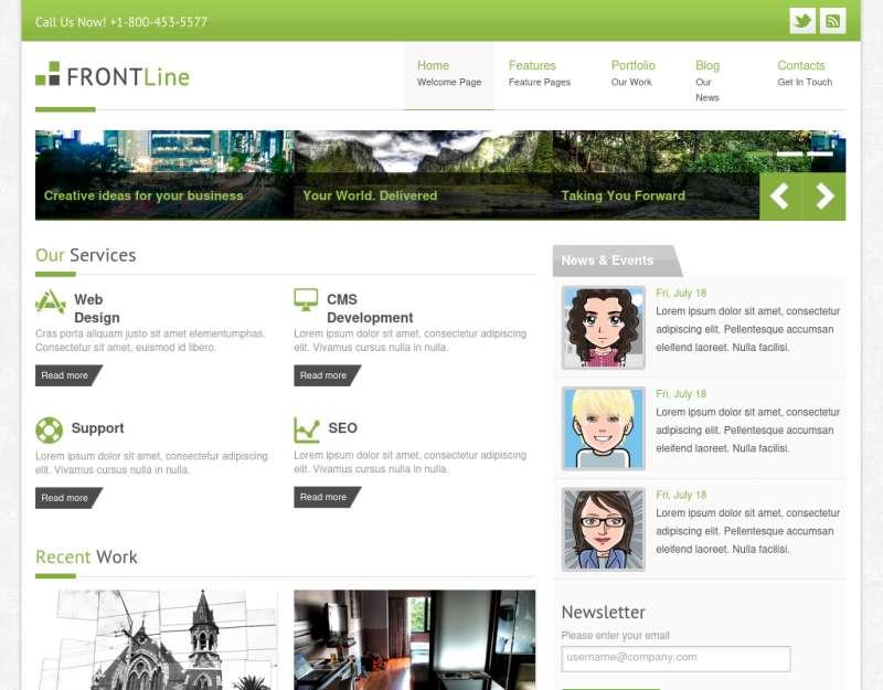 欧美简单大气绿色的企业网站模板html5+css3全站下载