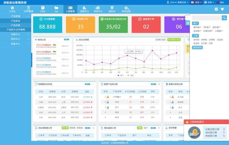蓝色的OA企业后台管理系统模板
