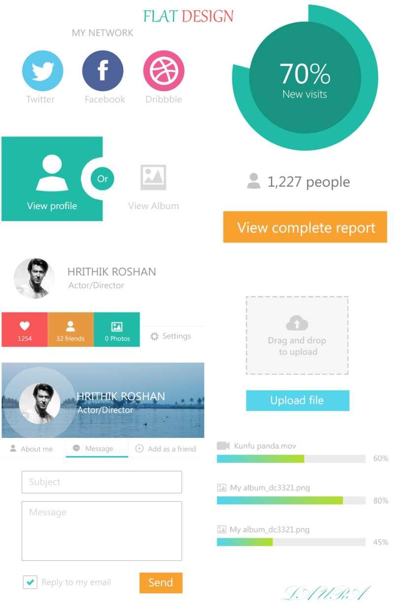 网页扁平化设计趋势-社交网站UI界面元素-上传工具ui界面素材