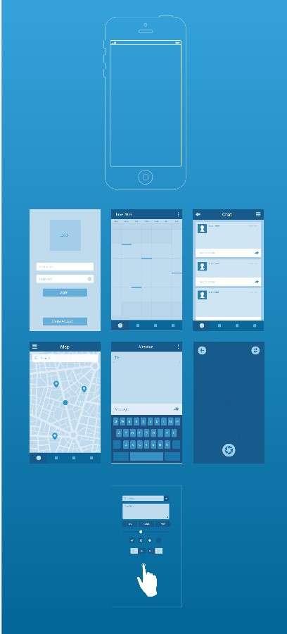 蓝色的iphone ui手机界面图AI矢量图素材下载