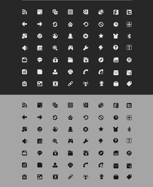 两组单色的小图标_纯白色的小图标和纯黑色的小图标psd素材