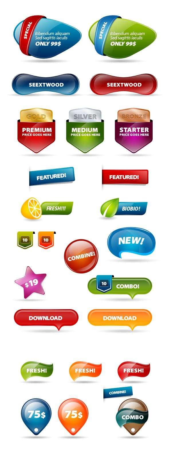 彩色水晶质感的网页图标_彩色水晶质感的网页按钮psd分层素材下载