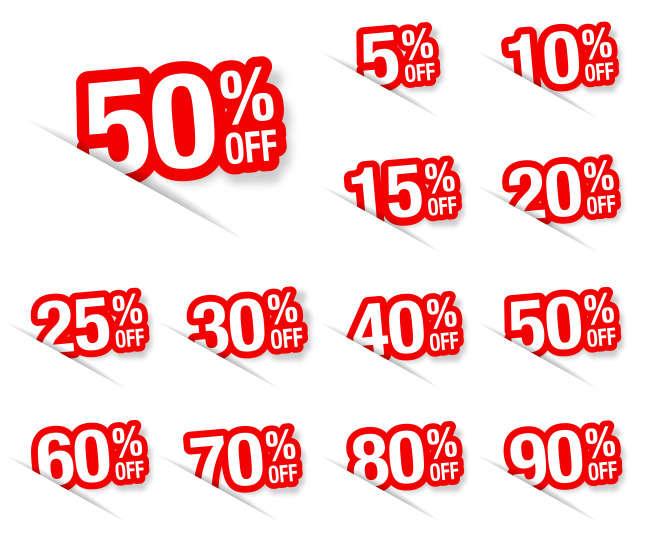 淘宝红色的降价标签图标_红色的数字折扣标签图标AI矢量图下载