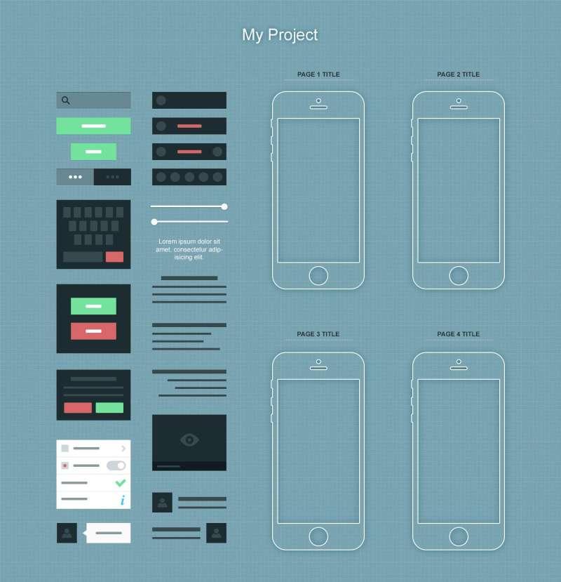 苹果ios7系统扁平化界面设计元素iPhone ui线框应用程序界面设计