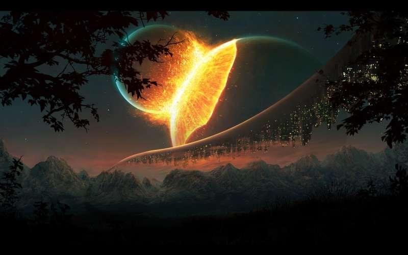 月球和地球碰撞的高清桌面图片jpg下载