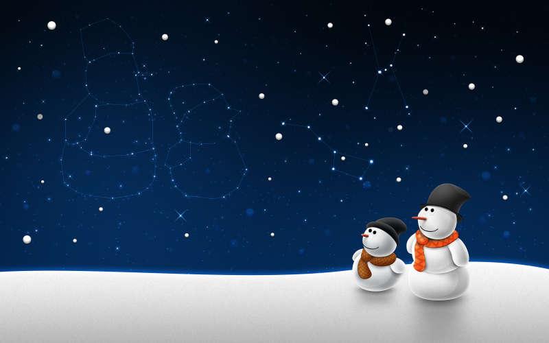 闪亮星空圣诞节可爱雪人图片素材下载