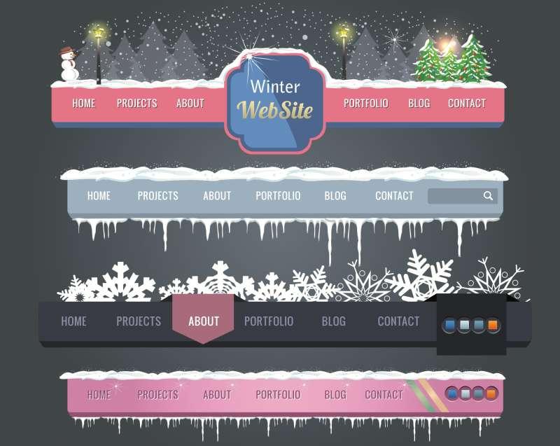 冬季雪花圣诞节主题网页导航条设计AI矢量素材下载