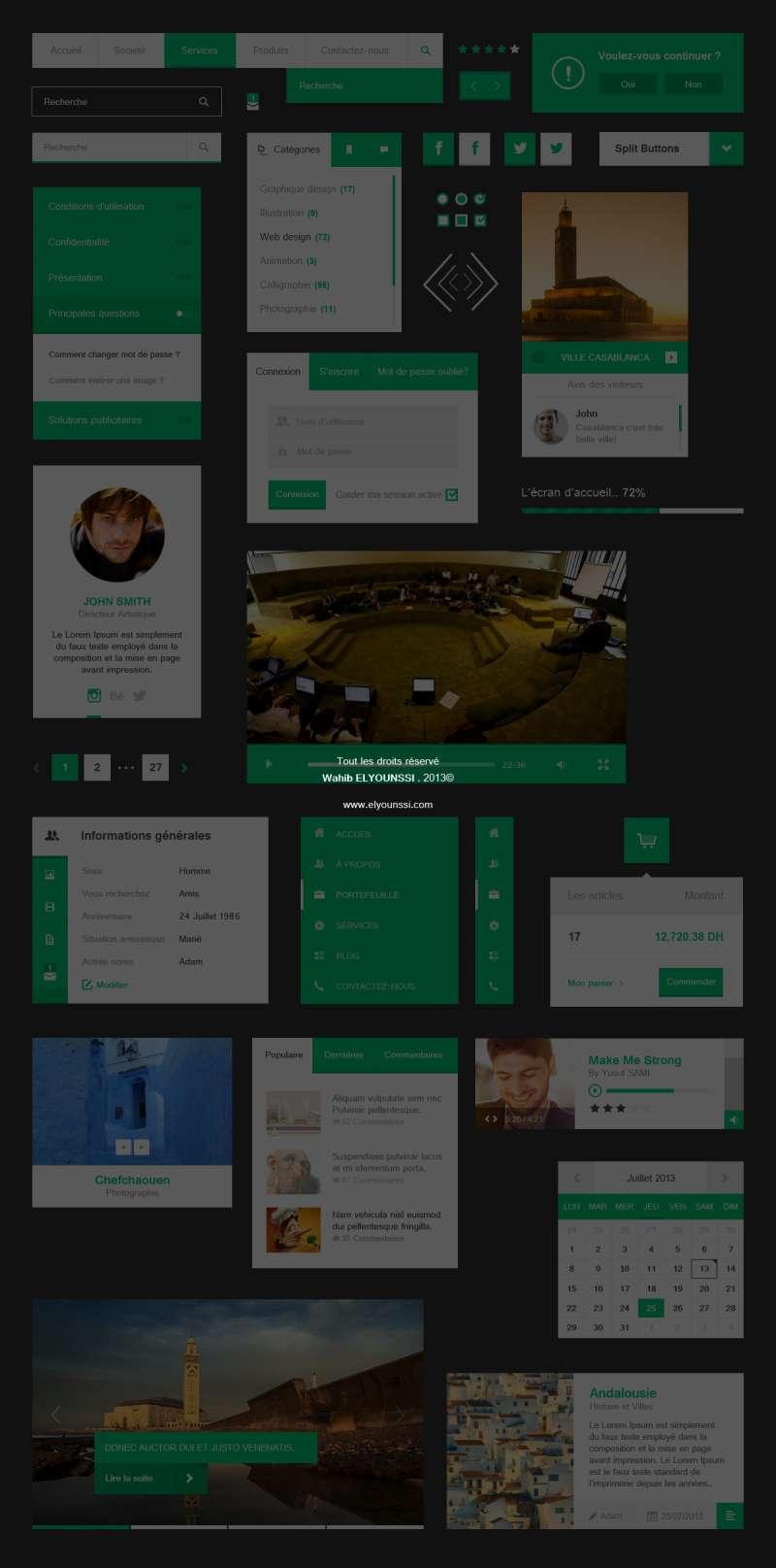 绿色网页ui扁平化设计元素psd分层素材下载