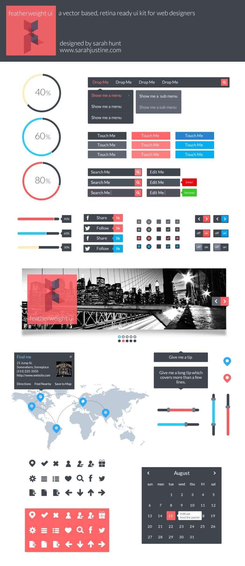 简单的网页ui扁平化设计元素psd分层素材下载