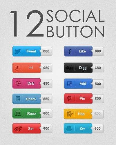 12款社交网站分享按钮设计psd素材下载