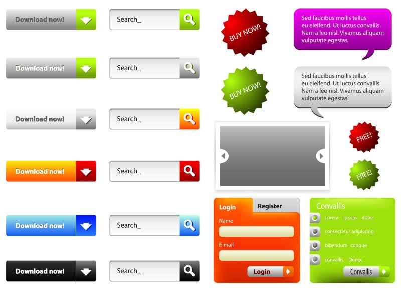 各种网页下载按钮和网页元素矢量素材下载