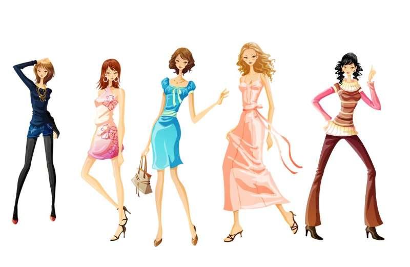 时尚购物女性卡通人物图片素材psd