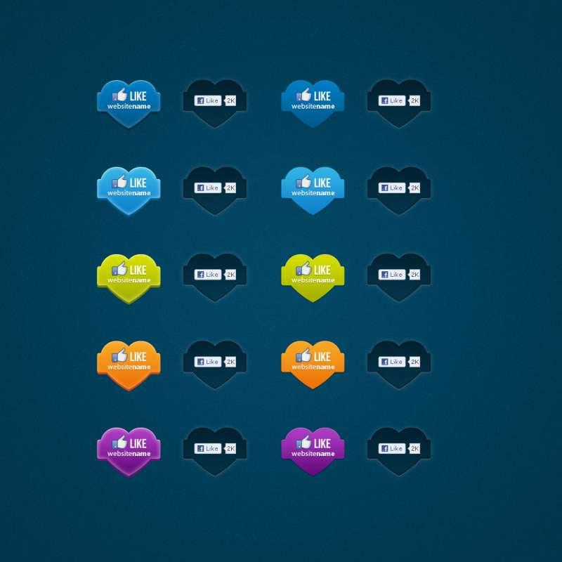 各大社交网站常用的点赞图标和点喜欢图标psd素材下载