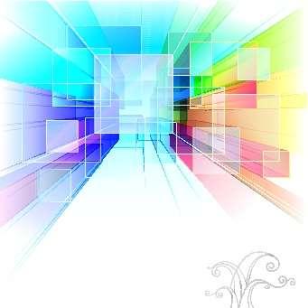 立体进深的3D矩形商务背景图片素材