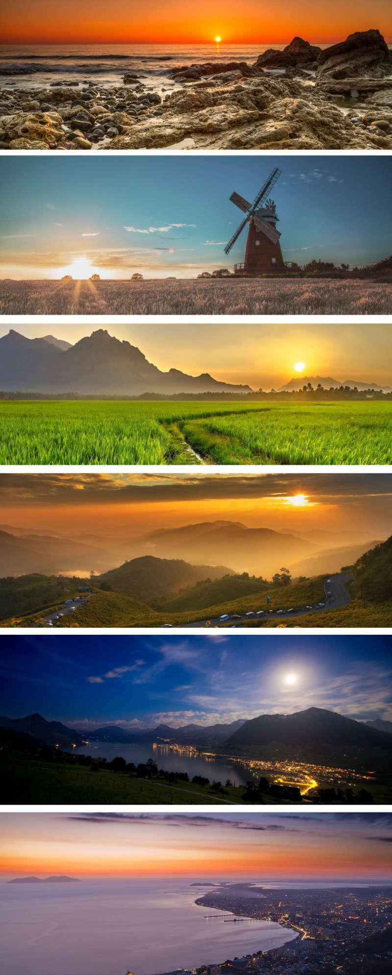 最美夕阳高山蓝天风景图片素材
