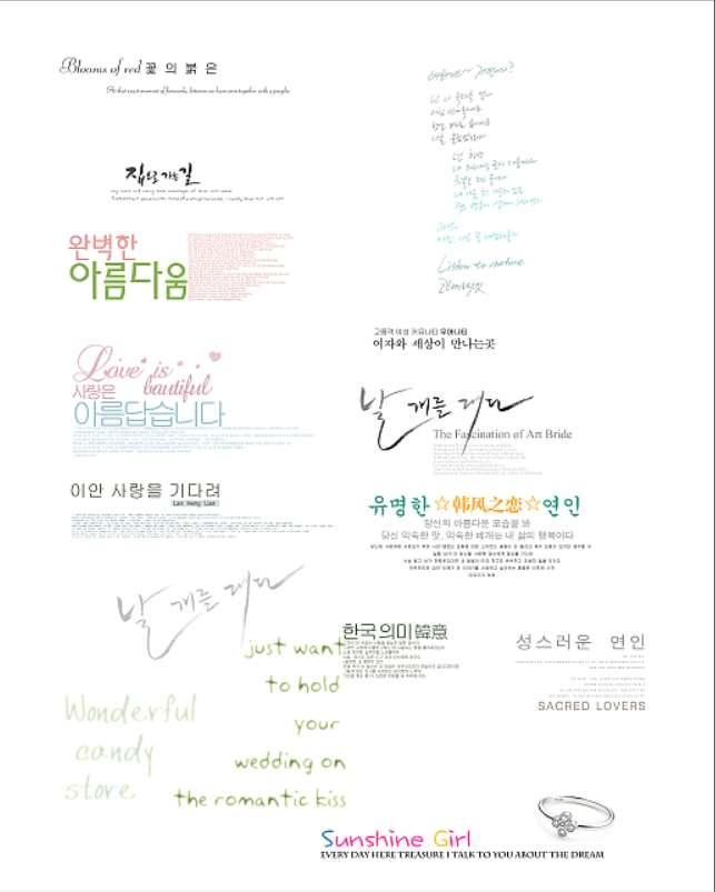 漂亮的韩国婚纱字体设计素材psd