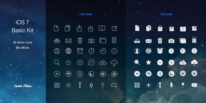 苹果ios7风格的功能线性图标素材