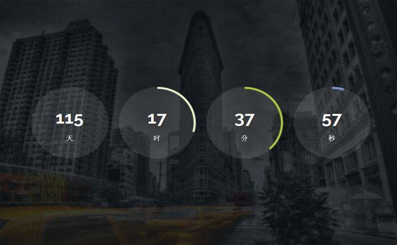 html5大气的网站圆圈倒计时间特效