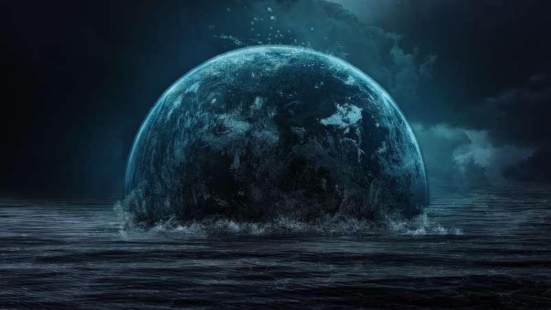 被水淹没的星球科幻图片素材