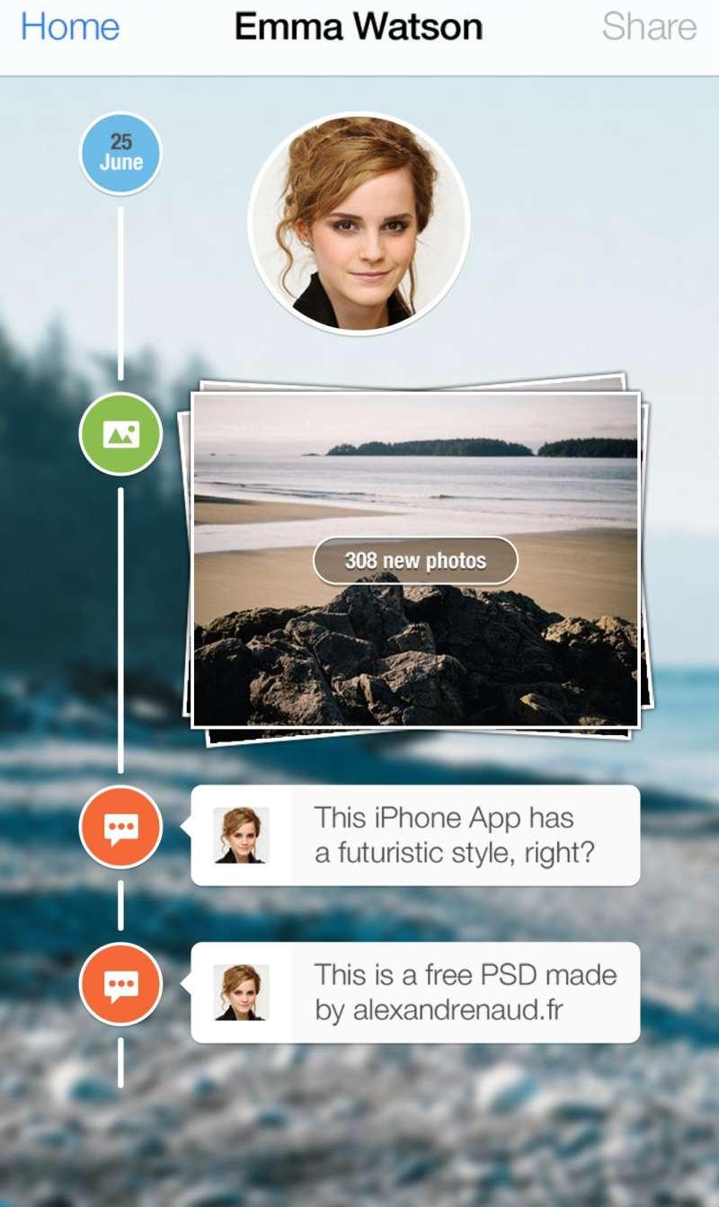 手机社交app ui界面时间轴留言评论设计psd下载