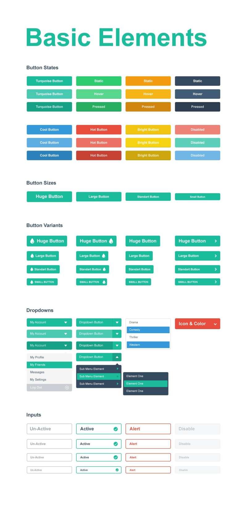 简单的扁平化风格的网页按钮设计psd分层素材下载