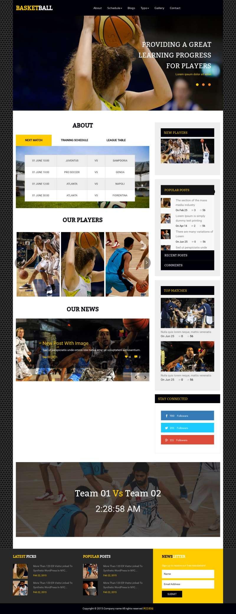 黑色的体育篮球俱乐部网站模板html下载