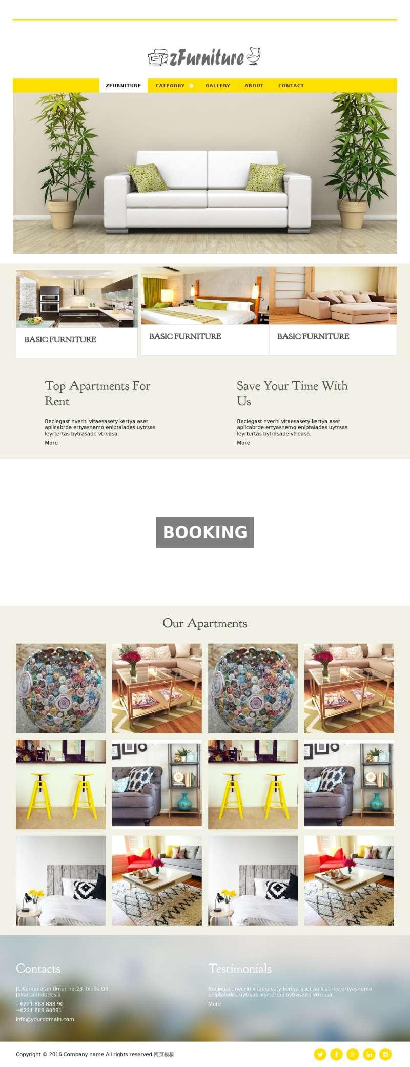 黄色的国外房屋装饰公司网站静态模板