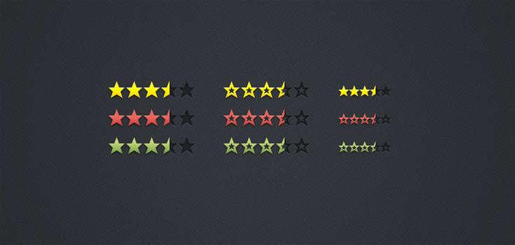 网页评论打分星星图标psd分层素材下载