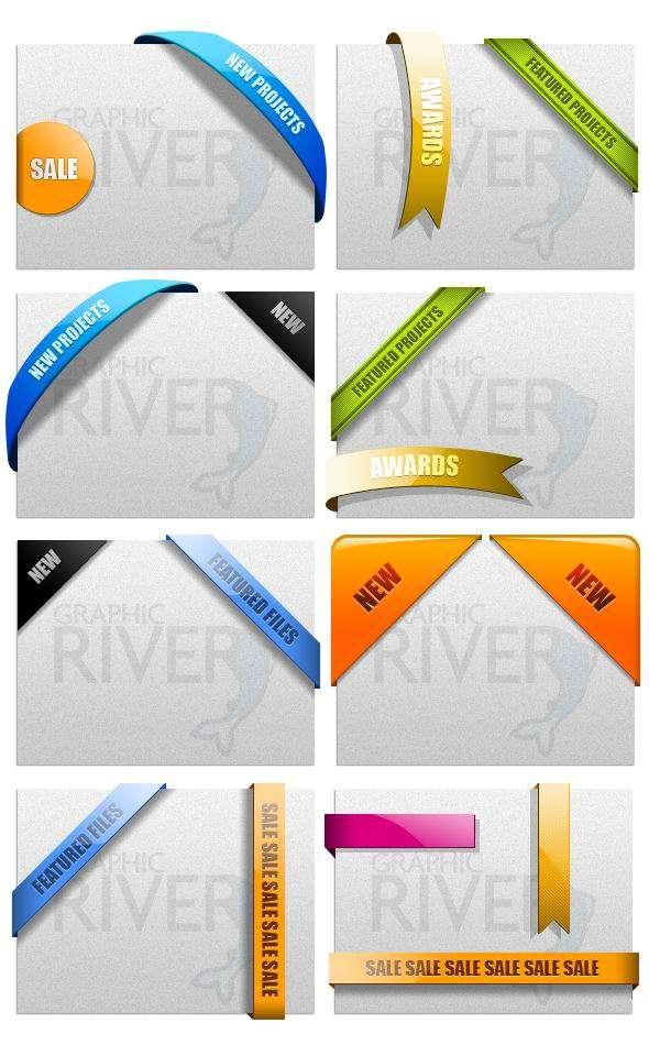 各种彩色斜角包边色带PSD分层素材下载