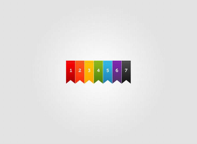 7种彩色书签_彩色色带PSD分层素材下载