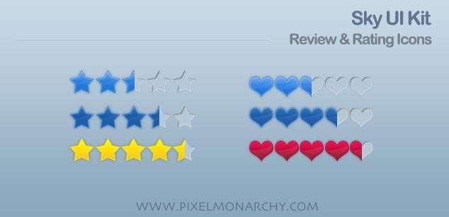 网页星级评分图标psd素材下载