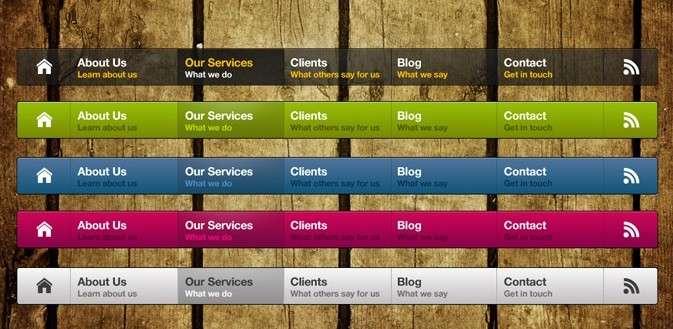 5款欧美风格彩色网页导航条psd素材下载